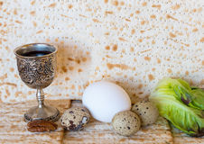 Background with Jewish unleavened bread and traditional food for Passover Stock Photos