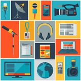 Background with journalism icons. Stock Photography