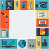 Background with journalism icons. Royalty Free Stock Image