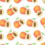 Background with juicy peaches, whole and half royalty free illustration