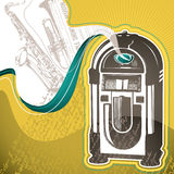 Background with jukebox vector illustration