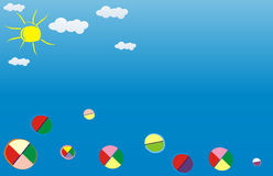 Background for July. A background for a calendar. It is executed in style of children's figure. Many different balls jumping up up to the sky in a sunny day Royalty Free Stock Photography