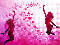 Background with jumping girls Royalty Free Stock Photos