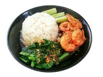 Background. Kale with garlic fried shrimp royalty free stock photography