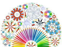 Background with kaleidoscope of school supplies Royalty Free Stock Images