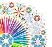 Background with kaleidoscope of school supplies stock illustration