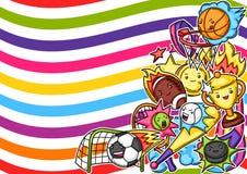 Background with kawaii sport items.