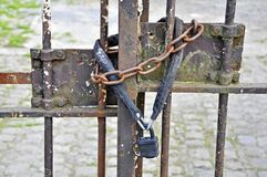 Image of Key iron chain for close the door royalty free stock image