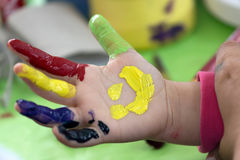 Background with kid painted hand Stock Image