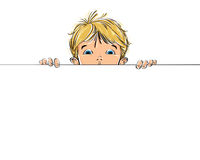 Background with a kid watching over copy space, vector illustrat Royalty Free Stock Photography