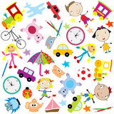 Background for kids with different kind of toys Royalty Free Stock Photography
