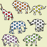 Background for kids with dotted elephants Stock Image