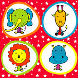 Background for kids with funny animals Royalty Free Stock Image