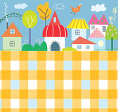 Background for kids with town and pattern - funny design Stock Images