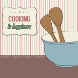 Background with kitchen cooking wooden utensils storage pot Royalty Free Stock Photo