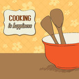 Background with kitchen cooking wooden utensils storage pot Royalty Free Stock Images