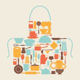 Background with kitchen and restaurant utensils royalty free illustration