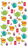 Background with kitchen set tea Cup jar of jam Royalty Free Stock Image