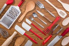 Background of kitchen utensils Stock Photos