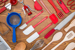 Background of kitchen utensils Stock Photography