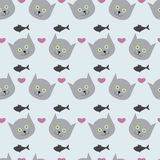 Background with kitten, fish and hearts. Adorable seamless pattern with light grey cat`s round head with big round green eyes, black nose and sharp ears, rosy Stock Images