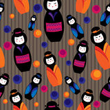 Background with kokeshi dolls Stock Photos