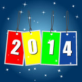 2014 Background. 2014 label background with stars and blue gradient background Royalty Free Stock Image