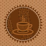 Background with a lace and coffee cup Royalty Free Stock Photography