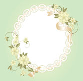 Background with lace frame with flowers Royalty Free Stock Images