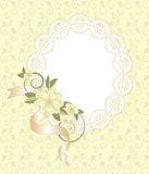 Background with lace frame with flowers Stock Photos