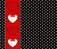 Background with lace frame and hearts. Stock Image