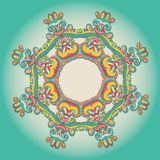 Background with lace hand drawn colorful ornament Stock Photography