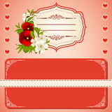 background with lace ornaments and flowers. Stock Photo