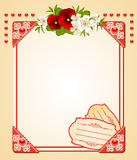 Background with lace ornaments and flowers Stock Images