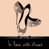 Background of lace pair of shoes Stock Images