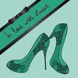 Background of lace pair of shoes Stock Photos