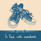 Background of lace pair of sneakers Stock Photos