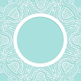Background with lace pattern. Vector ornament frame. Template for invitation, greeting card or announcement. Laser cut pattern Stock Photo