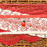 Background with a ladybird. Red background with a ladybird, beads and ribbons Royalty Free Stock Images