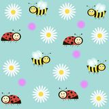 Background with ladybirds, bees and camomiles Royalty Free Stock Image