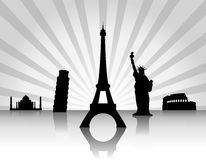 Background with landmarks. Background with landmarks, rays and reflection Stock Photo