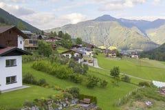 Background landscape Alpine village in Austria Stock Photos