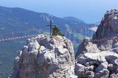 Background landscape hanging rope bridges between the peaks of Mount Ai-Petri. At high altitude, Yalta, Crimea stock images