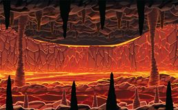 Background of landscape - infernal hot cave with lava. A high quality horizontal seamless background of landscape - infernal hot cave with lava. Horizontal Royalty Free Stock Images