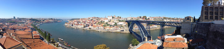 Background landscape panorama view from  cable car to the embankment Nova de Gaia Vila, Porto and river Duoro Stock Photography