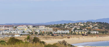 Background landscape panoramic views of Lagos, the mountains and the city beach in the Algarve Portugal Stock Photos
