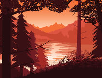 Background of landscape with river, forest and mountains. A high quality background of landscape with river, forest and mountains. Sunset on a background of a Royalty Free Stock Image