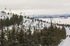 Background landscape of ski slopes and lifts in the ski resort Stock Images