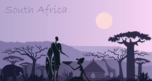 Background with landscape of South Africa with animals, a warrior and a woman Stock Image