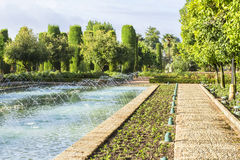 Background landscape view of the Alcazar in Cordoba, Spain Stock Image